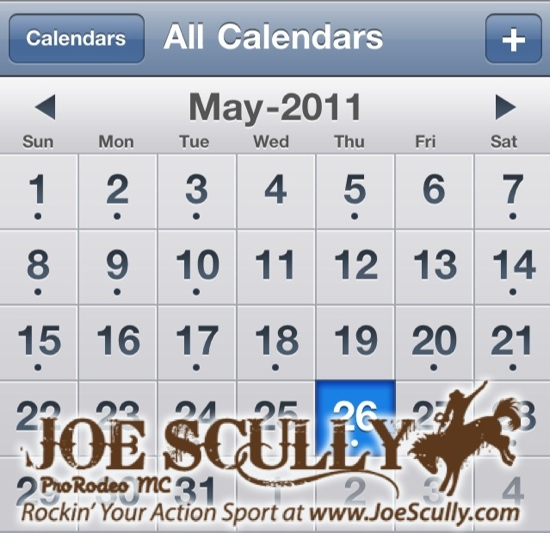Joe Scully, ProRodeo MC and Action Sport Announcer Calendar