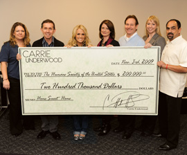 Carrie Underwood Donation to Humane Society of the United States