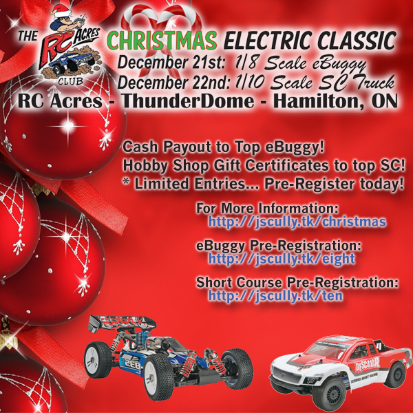 The RC Acres Christmas Electric Classic - 1/8 Scale eBuggy and 1/10 Scale Short Course Truck Race