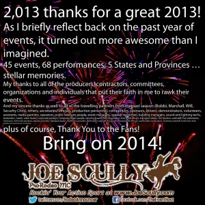 2013 Thanks for a Great 2013 by Joe Scully, ProRodeo MC