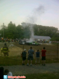 Smoke and Radiator Fluid billows up at the 2012 Schomberg Fair Demo Derby