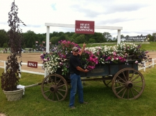 Nate pozes infront of the Heavy Horse Happening at Canada's Outdoor Equine Expo - featuring Adams Wagons