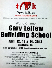 Gary Leffew Bull Riding School