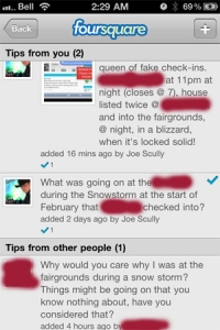 Tip off of a Fake Check-In on Foursquare